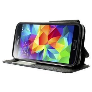 Pěněženkové pouzdro s okýnkem pro Samsung Galaxy S5 mini -  tmavěmodré - 3
