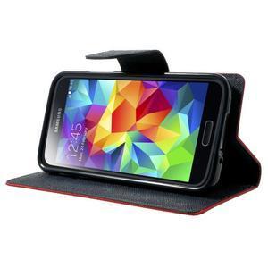 Diary PU kožené pouzdro na Samsung Galaxy S5 mini - červené - 3