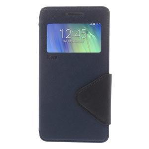 Stylové pouzdro s okýnkem na Samsung Galaxy A5 - tmavěmodré - 3