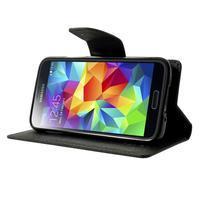 Diary PU kožené pouzdro na Samsung Galaxy S5 mini - černé - 3/7