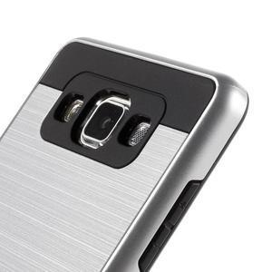 Hybridní gelové/plastové pouzdro na Samsung Galaxy A5 - stříbrné - 3