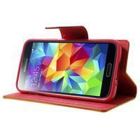 Diary PU kožené pouzdro na Samsung Galaxy S5 mini - žlutooranžové - 3/7