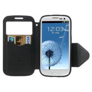 Peněženkové pouzdro s okýnkem pro Samsung Galaxy S3 / S III - černé - 3