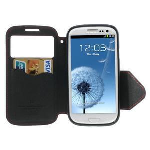 Peněženkové pouzdro s okýnkem pro Samsung Galaxy S3 / S III - červené - 3