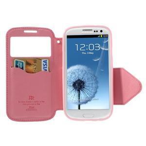 Peněženkové pouzdro s okýnkem pro Samsung Galaxy S3 / S III - rose - 3