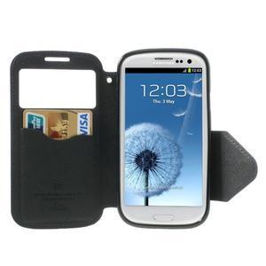 Peněženkové pouzdro s okýnkem pro Samsung Galaxy S3 / S III - tmavěmodré - 3