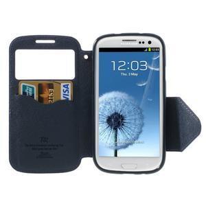 Peněženkové pouzdro s okýnkem pro Samsung Galaxy S3 / S III - fialové - 3