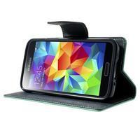 Diary PU kožené pouzdro na Samsung Galaxy S5 mini - azurové - 3/7