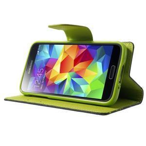 Diary PU kožené pouzdro na Samsung Galaxy S5 mini - tmavěmodré - 3