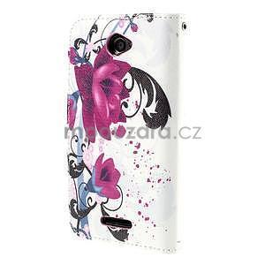 Koženkové pouzdro na mobil Sony Xperia E4 - květy - 3
