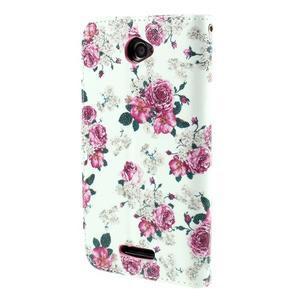 Koženkové pouzdro na mobil Sony Xperia E4 - růže - 3