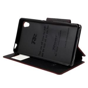 Peněženkové pouzdro s okýnkem pro Sony Xperia M4 Aqua - červené - 3