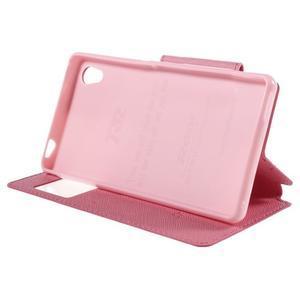 Peněženkové pouzdro s okýnkem pro Sony Xperia M4 Aqua - růžové - 3