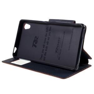 Peněženkové pouzdro s okýnkem pro Sony Xperia M4 Aqua - oranžové - 3