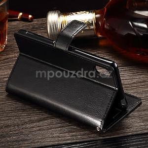 Koženkové pouzdro Sony Xperia M4 Aqua - černé - 3