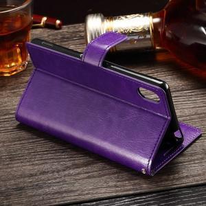 Koženkové pouzdro Sony Xperia M4 Aqua - fialové - 3
