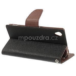 Peněženkové pouzdro na mobil Sony Xperia Z3 - černé/hnědé - 3