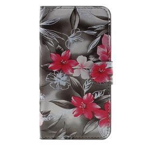 Nice koženkové pouzdro na mobil Acer Liquid Z520 - červené květy - 3