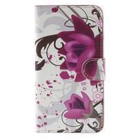 Nice koženkové pouzdro na mobil Acer Liquid Z520 - fialové květy - 3/7
