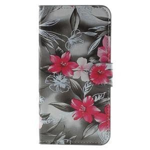 Valet peněženkové pouzdro na Acer Liquid Z530 - červené květy - 3