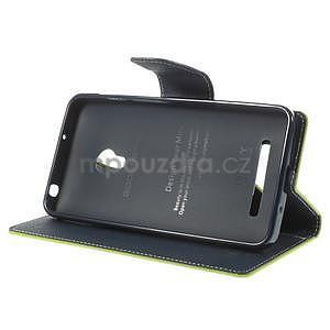Zelené/tmavě modré peněženkové pouzdro na Asus Zenfone 5 - 3