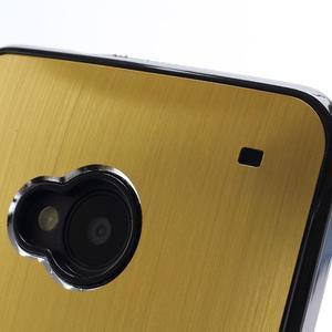 Broušený hliníkový plastový kryt na HTC One M7 - zlatý - 3
