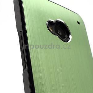 Broušený hliníkový plastový kryt na HTC One M7 - zelený - 3