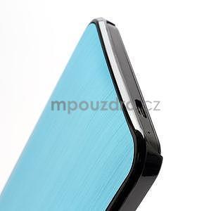 Broušený hliníkový plastový kryt na HTC One M7 - světle modrý - 3