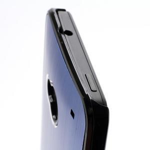 Broušený hliníkový plastový kryt na HTC One M7 - modrý - 3