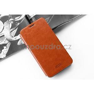 PU kožené pouzdro na Huawei P8 Lite - hnědé - 3