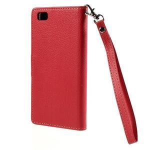 Zapínací PU kožené pouzdro na Huawei P8 Lite - červené - 3