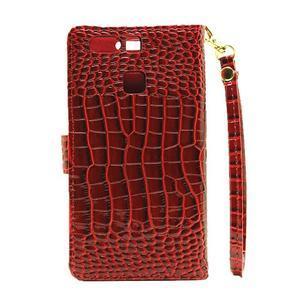 Croco peněženkové pouzdro na Huawei P9 - červené - 3