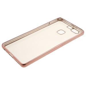 Stylový gelový obal s růžovozlatým lemem na Huawei P9 - 3