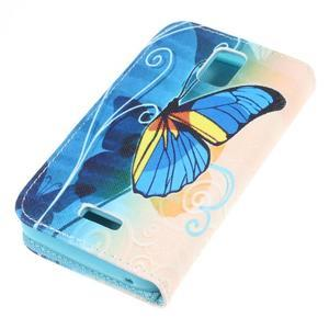 Peněženkové pouzdro na mobil Huawei Y3 a Y360 - modrý motýl - 3