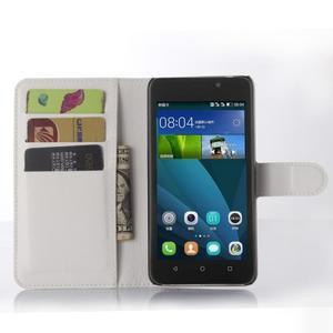 Bílé zapínací PU kožené pouzdro na Huawei Y635 - 3