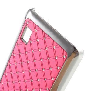 Drahokamový plastový kryt na Huawei Y635 -  růžový - 3