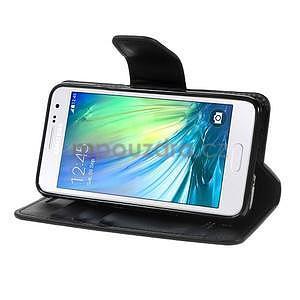 Černé PU kožené peněženkové pouzdro na Samsung Galaxy A3 - 3