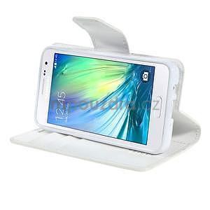 Bílé PU kožené peněženkové pouzdro na Samsung Galaxy A3 - 3