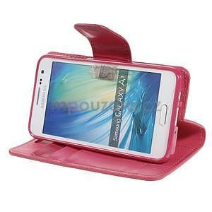 Rose PU kožené peněženkové pouzdro na Samsung Galaxy A3 - 3