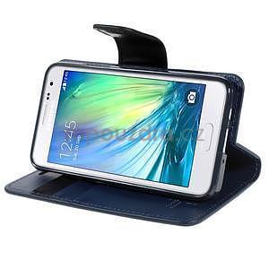 Tmavě modré PU kožené peněženkové pouzdro na Samsung Galaxy A3 - 3