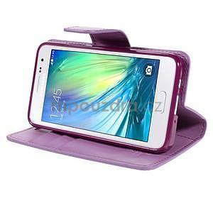 Fialové PU kožené peněženkové pouzdro na Samsung Galaxy A3 - 3