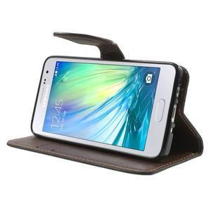 Černé/hnědé PU kožené pouzdro na Samsung Galaxy A3 - 3