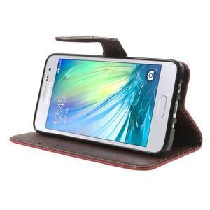 Červené/hnědé PU kožené pouzdro na Samsung Galaxy A3 - 3
