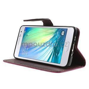 Rose/hnědé PU kožené pouzdro na Samsung Galaxy A3 - 3