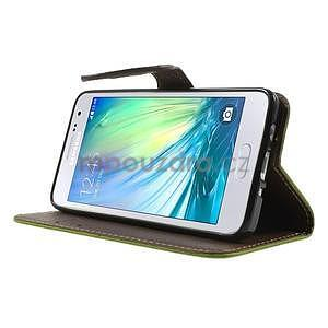 Zelené/hnědé PU kožené pouzdro na Samsung Galaxy A3 - 3