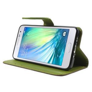 Hnědé/zelené PU kožené pouzdro na Samsung Galaxy A3 - 3