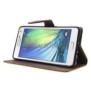 Zelené/hnědé PU kožené pouzdro na Samsung Galaxy A5 - 3