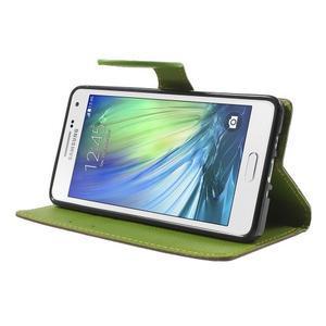 Hnědé/zelené PU kožené pouzdro na Samsung Galaxy A5 - 3
