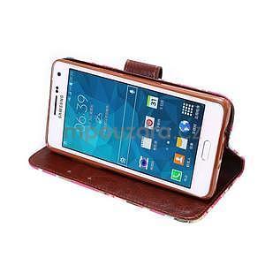 Květinové peněženkové pouzdro na Samsung Galaxy A5 - rose - 3