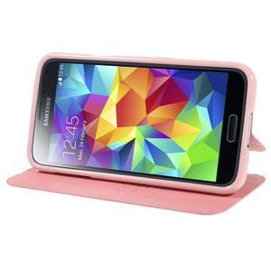 Růžové zapínací pouzdro na Samsung Galaxy S5 mini - 3